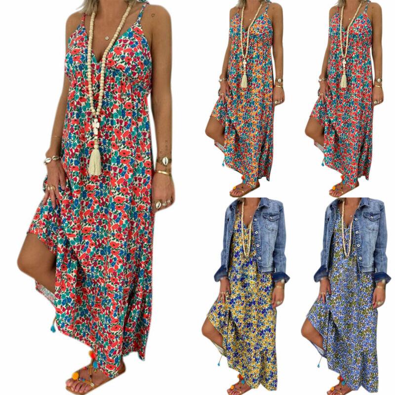 Damen Sommerkleid Strandkleid Boho Trägerkleid Maxikleid Freizeitkleid Übergröße
