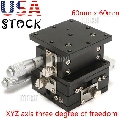 Linear Stage Xyz 3 Axis Trimming Platform Bearing Tuning Sliding Table 60x60 Usa