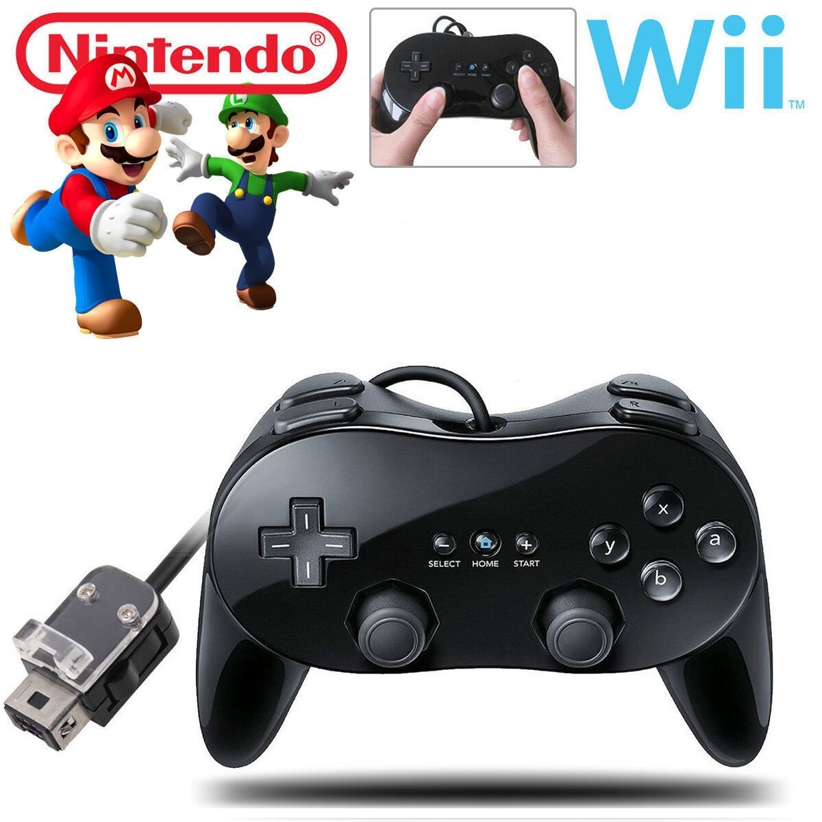 New Pro Classic Game Controller Pad Console Joypad For Nintendo Wii Remote Black Controllers & Attachments