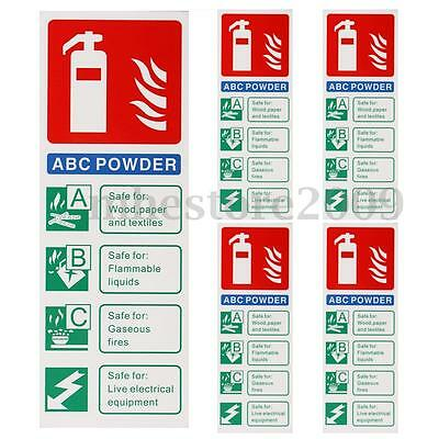 5pcs Fire Extinguisher Abc Powder 200x75mm Warning Signs Safety Stickers