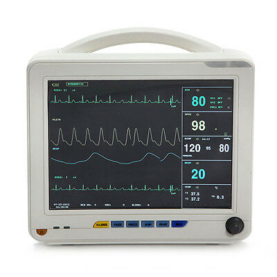 Usps Medical 12.1 Icu Patient Vital Sign Monitor Ekg Nibp Spo2 Temp Resp Alarm