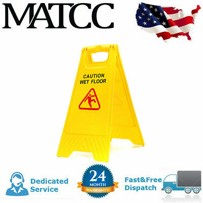 Caution Wet Floor - Folding Safety Sign Cleaning Slippery Warning Bright 2 Sided ()