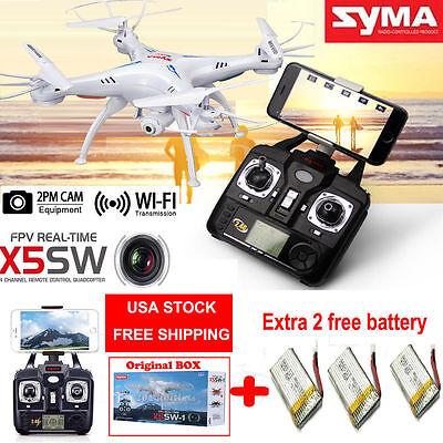 3 Batteries SYMA X5SW WiFi FPV 6-Axis GYRO RC Quadcopter Drone 2MP HD Camera RTF