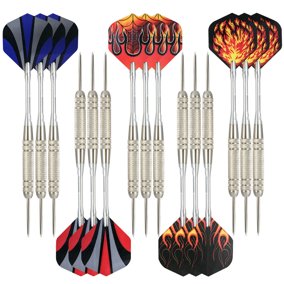 12 Dartpfeile Steel-Dartpfeile 4 Sets je 3 Flights 18g mit 15 Dartspitzen Flamm