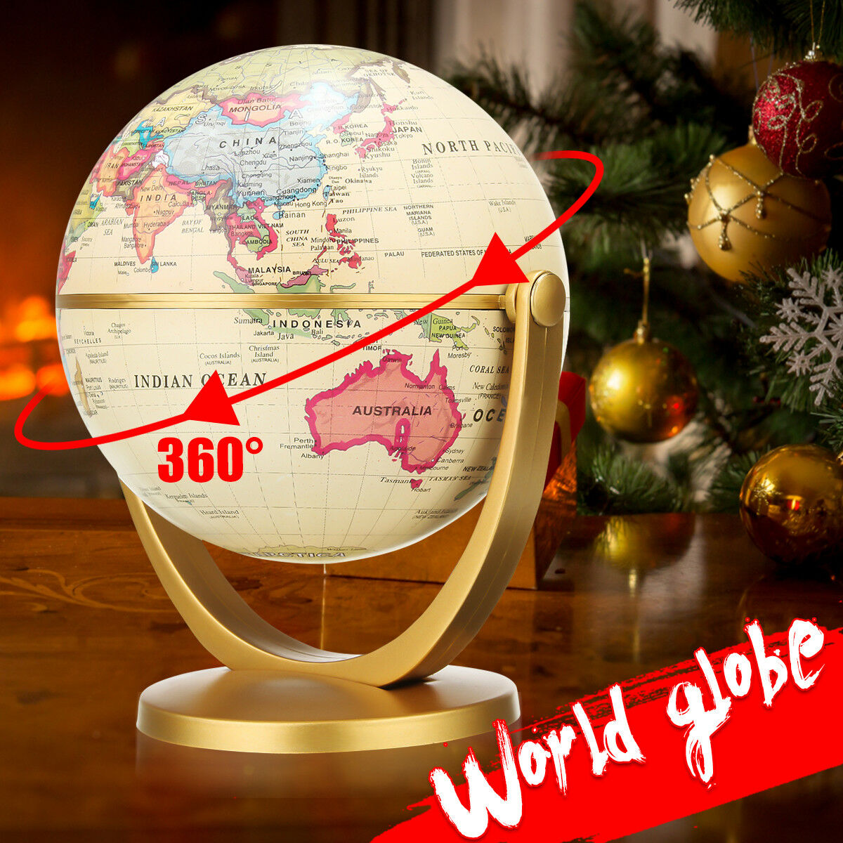 360° Rotating World Globe Earth Antique Desktop Geography Educational Decoration