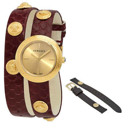 Versace Medusa Stud Icon Quartz Gold Dial Ladies Watch VERF00218