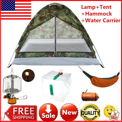 Camping Tent + Lamp Light +Water Storage Carrier Outdoor Portable Beach Kit C1Y5