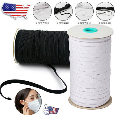 "125 Yards Length DIY Braided Elastic Band Cord Knit Band Sewing 1/4"" 1/8"" USA OT"