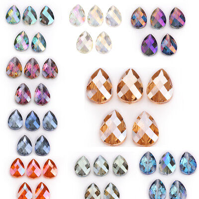 10 Faceted Crystal Glass Teardrop Spacer Loose Beads Fashion Jewelry Making 18mm 10 Crystal Glass