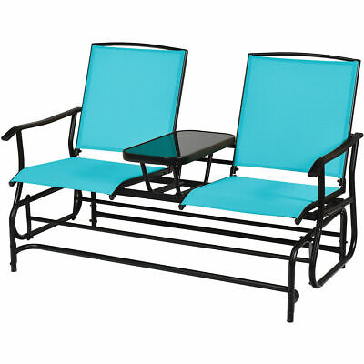 Topbuy Patio Loveseat Rocking 2 Person Outdoor Double Glider Chair With Center