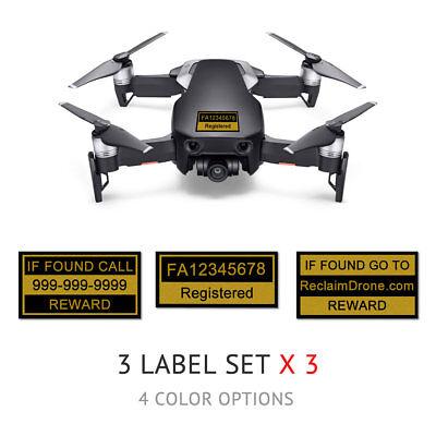 DJI Mavic Air - Drone Labels / Stickers, FAA UAS Registration & Phone #, Onyx