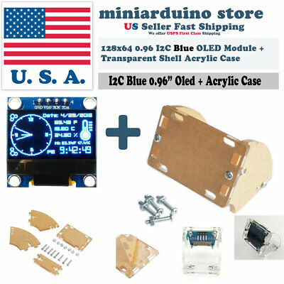 0.96 I2c Iic 128x64 Oled Lcd Led Blue Color Ssd1306 Transparent Case Arduino