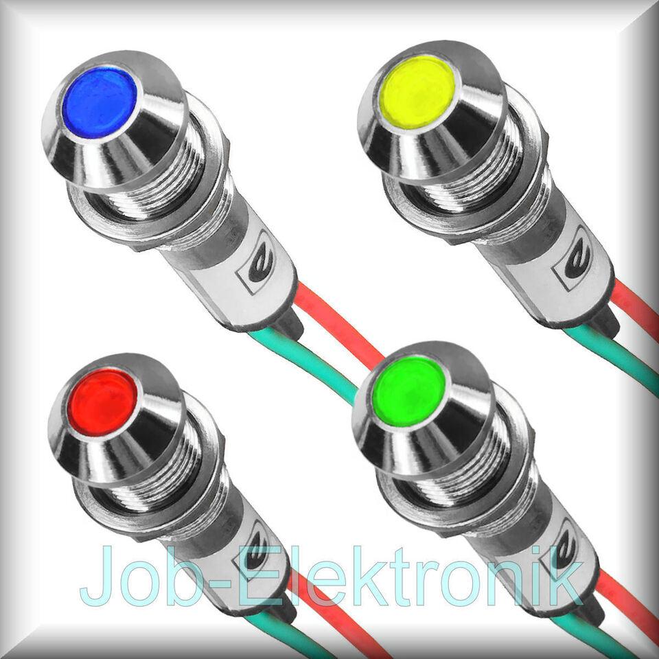 LED  Signallampe Signalleuchte Kontrollleuchte 12V / 230V  8mm Metallfassung