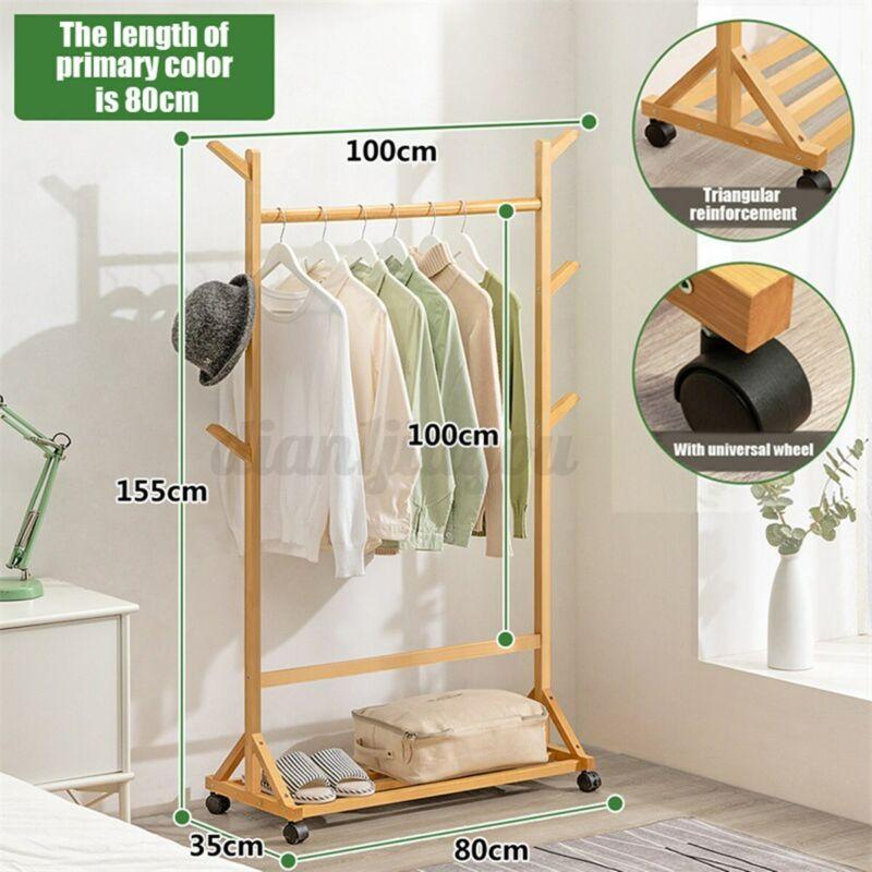 Heavy Duty Wooden Commercial Garment Rack Rolling Clothing Coat Shelf Wheels