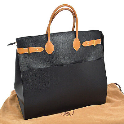 Authentic HERMES AIRPORT Hand Tote Bag Black Vachette Grainee Ardenne RK12305