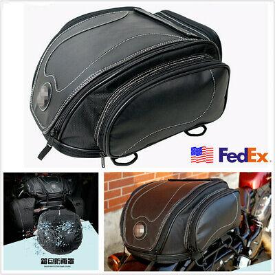Black PU Leather Motorcycle Tail Seat Bag Luggage Pack Helmet Bag w/ Rain Cover