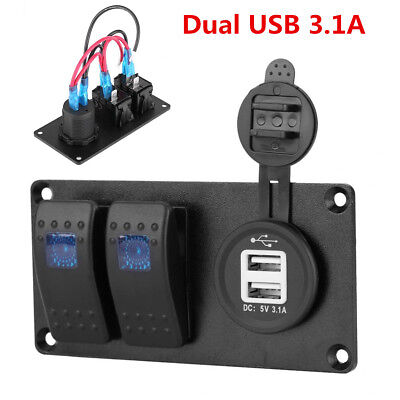 12v24v Auto Car 2-gang Led Rocker Switch Panel Circuit Breaker Dual Usb Charger