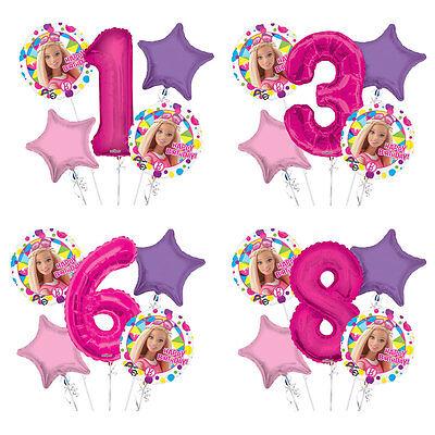 Barbie 1 - 9 Birthday Balloon Bouquet 5 pcs Girls Birthday Party - Barbie Balloons