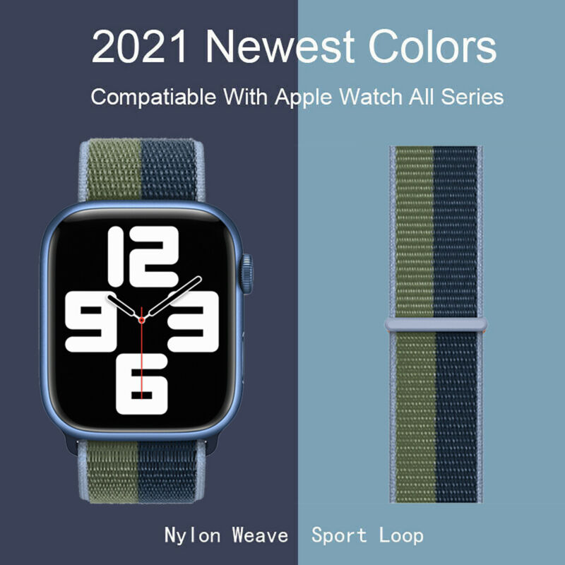 Nylon Sport Loop iWatch Band For Apple Watch Series 7-1 SE 38/41/42/40/44/45mm