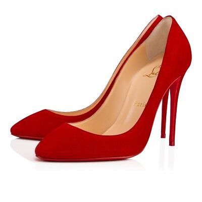Christian Louboutin Eloise 100 Loubi Red Suede Classic Stiletto Heel Pump 36.5
