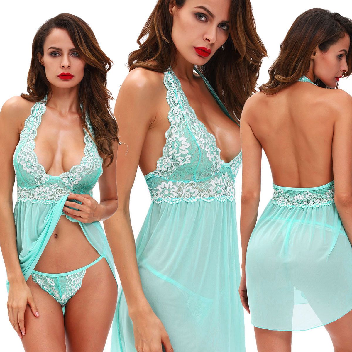 Sexy Women Lingerie Lace Chemise Halter V Neck Babydoll Sleepwear Nightgown US Clothing, Shoes & Accessories