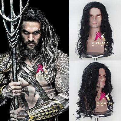 Aquaman Arthur Curry Long Curly Black and White Movie Cosplay Halloween Wig ](Arthur Halloween Movie)