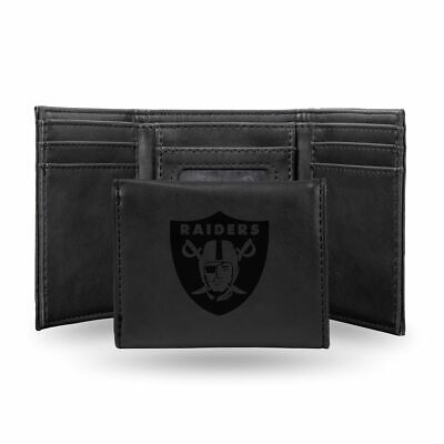 Oakland Raiders NFL Laser Engraved Black Synthetic Leather Trifold Wallet ()