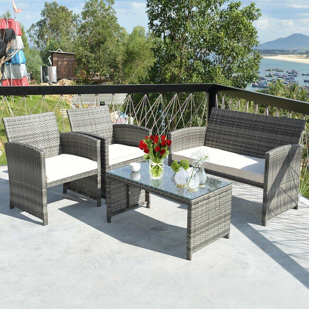 Garden Furniture - 4 Piece Rattan Outdoor Patio Furniture Garden Set Sofa W/ Cushions - Glass Table