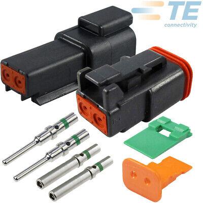 Deutsch Black 2-pin Solid Contact 14-16 18 Awg Connector Set Pins Seals