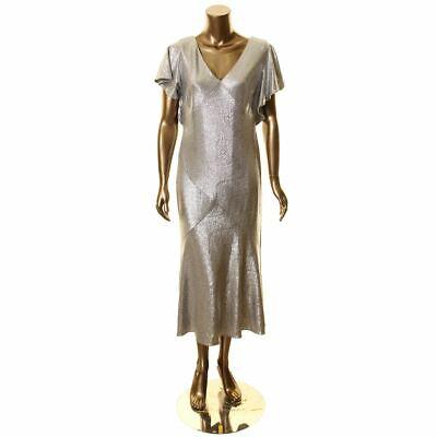 LAUREN RALPH LAUREN NEW Women's Metallic Foil Flutter Sleeve Gown Dress TEDO