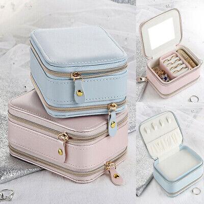 Portable Jewelry Box Organizer Travel Leather Jewellery Ornaments Case Storage
