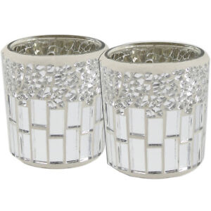 Set-of-2-Silver-and-Chrome-Mosaic-Tealight-Holders-Tea-Light-Candle-Holder-Decor