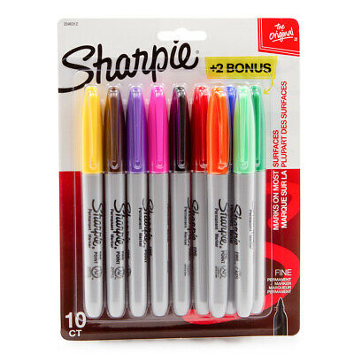 10pk Sharpie Permanent Markers Fine Point Assorted Colors Writing Arts Crafts