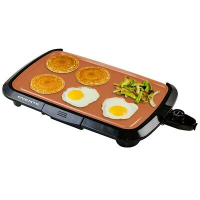 OVENTE Electric Griddle 16x10 Inch Non-Stick Plate 1200W Copper (GD1610CO)