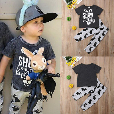 Cotton Toddler Kid Baby Boy Easter Clothes T-Shirt Tops+Long Leggings Outfit Set - Boys Easter Clothes