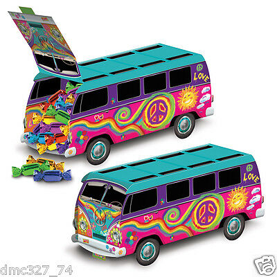 1 Groovy Retro 60s Party Decoration HIPPIE Tie Dye LOVE PEACE BUS CENTERPIECE (60s Decorations)
