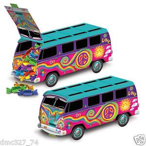 1 Groovy Retro 60s Party Decoration HIPPIE Tie Dye LOVE PEACE BUS CENTERPIECE