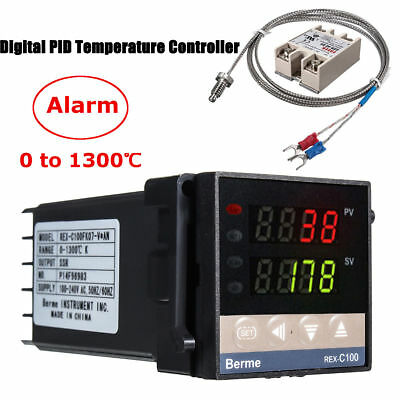 0-1300 Alarm Rex-c100 Digital Pid Temperature Controller Kits Ac 110v-240v Usa