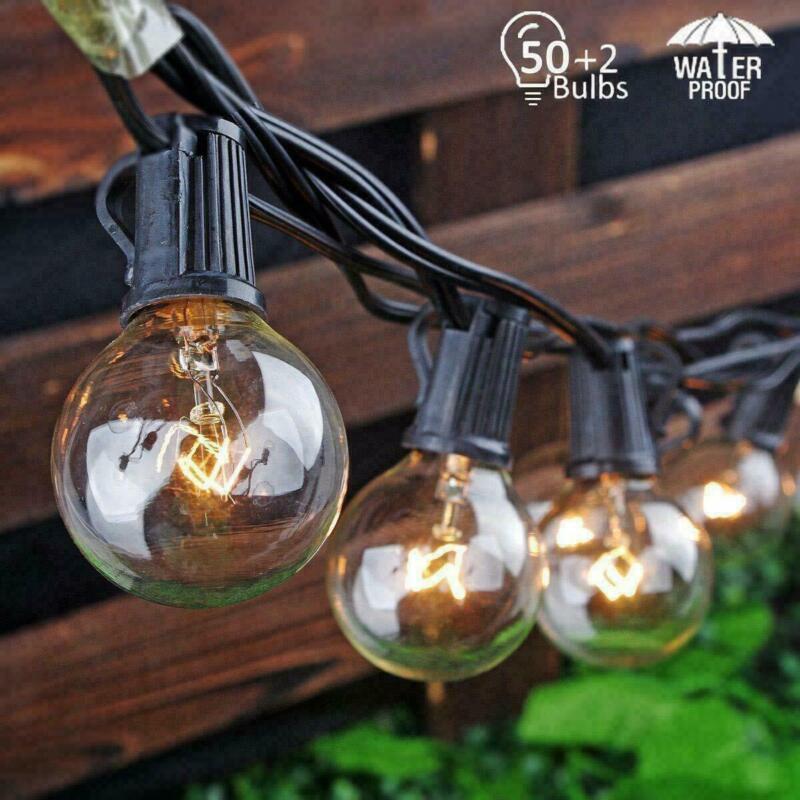 2Packs 25Ft G40 String Light 50 Globe Bulbs Patio Hanging String Lights Outdoor