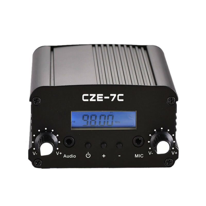 CZE-7C FM Transmitter 7W 1W Mini Radio Stereo Station PLL LCD Black with Antenna