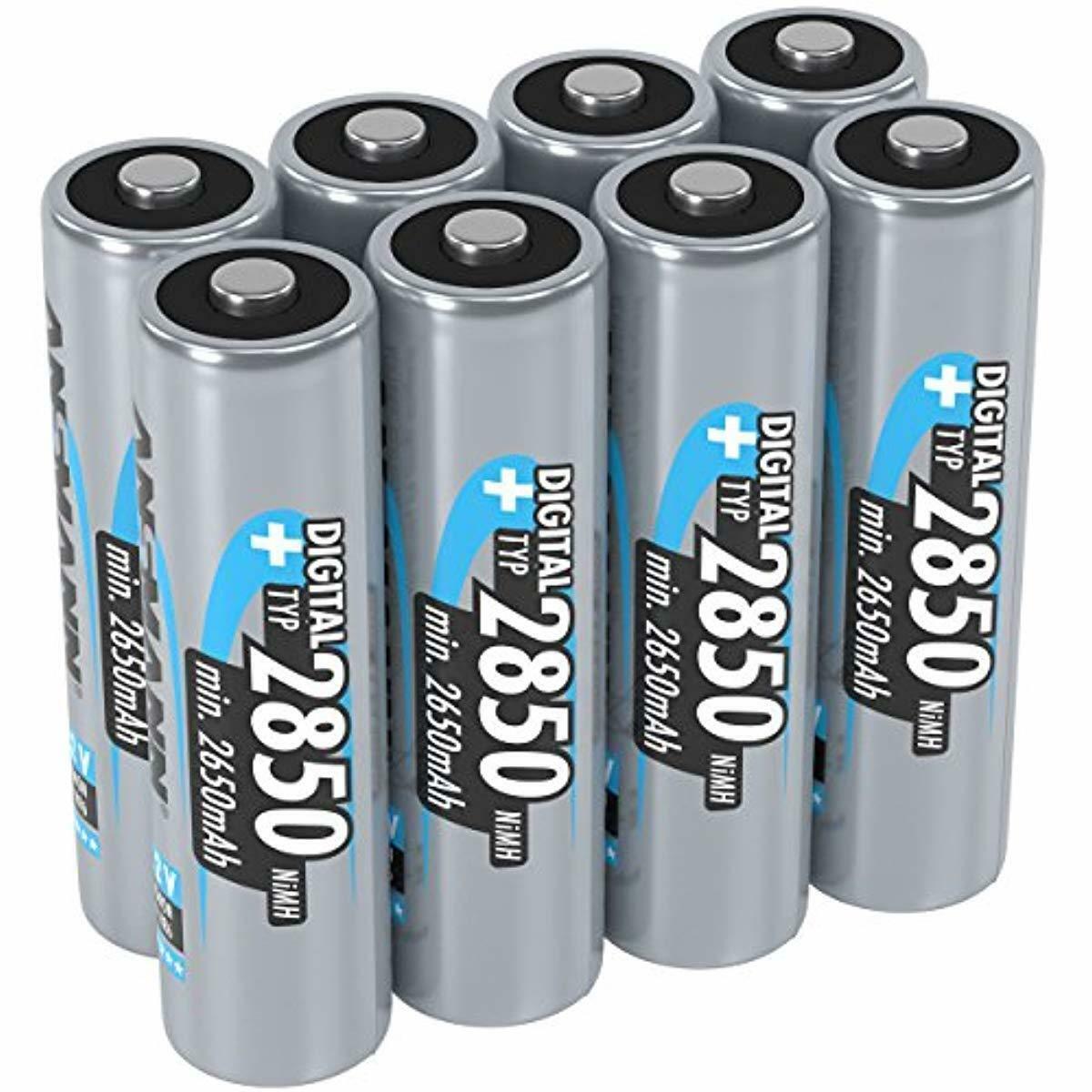 8x Akkus AA Mignon Typ 2850mAh 1,2V - Wiederaufladbare Batterien OHNE MEMORY