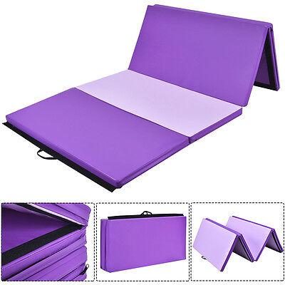 8FT Folding Gymnastics Tumble Floor Mat Yoga Exercise Fitness Pilates Gym Purple