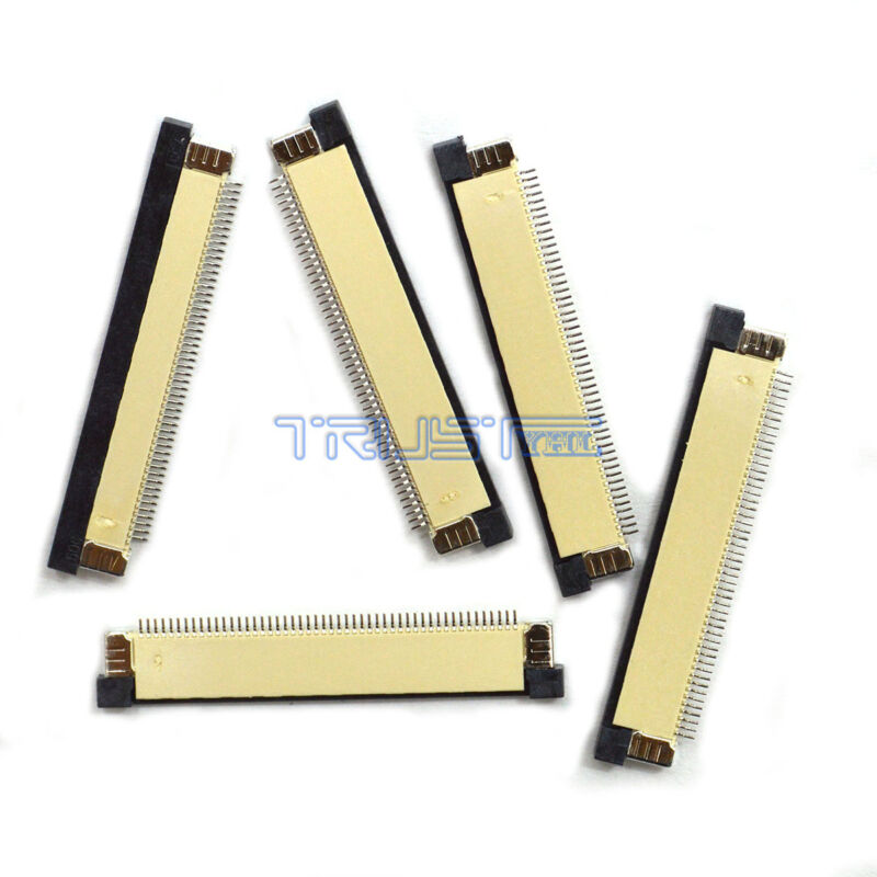 5 Pcs FFC/FPC Flexible Flat Cable Connector Terminal 50 Pin 0.5mm Pitch ZIF