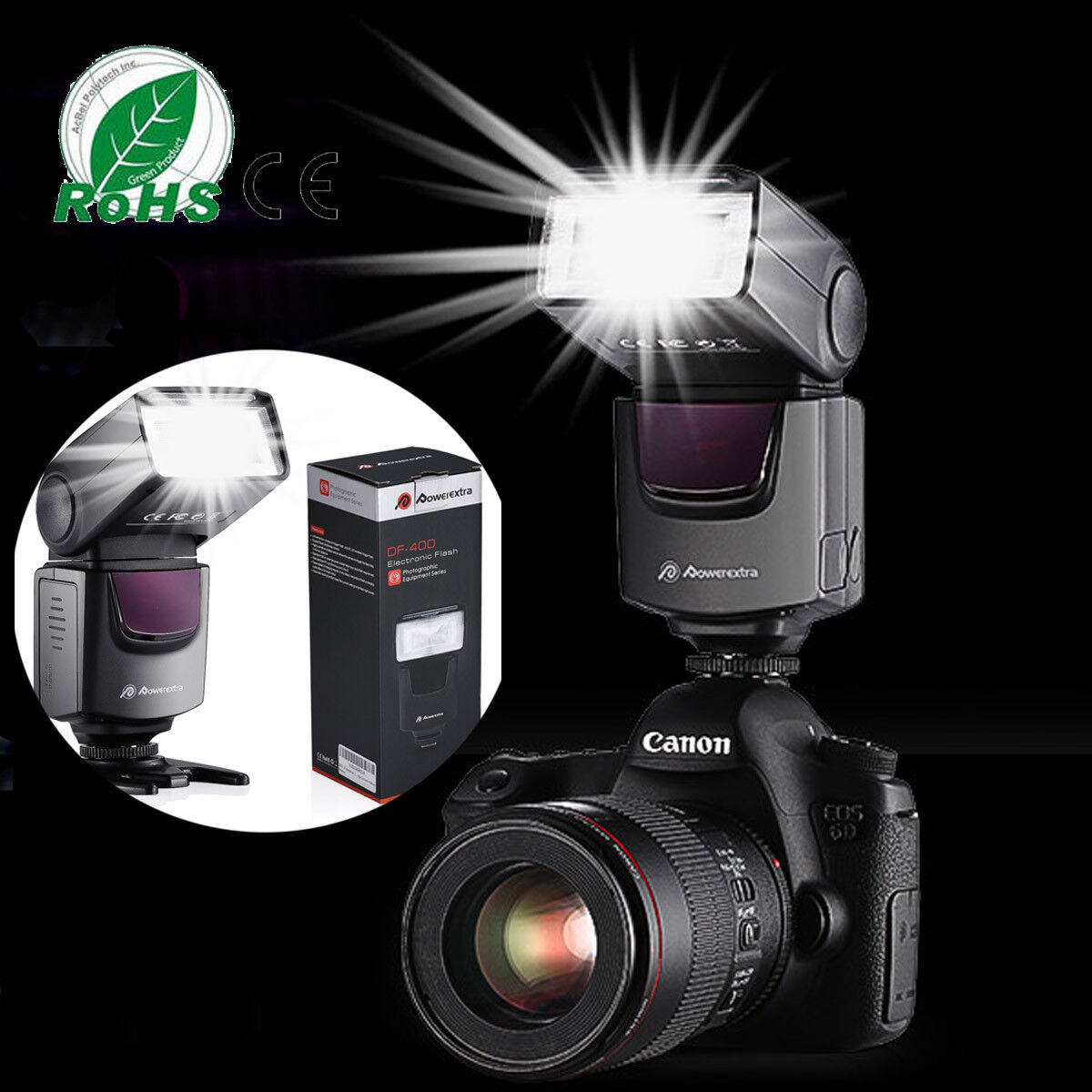 Flash Gun Speedlite Speedlight for Canon Nikon DSLR Camera F