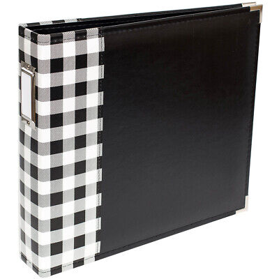 American Crafts We R Memory Keepers Album 12 x 12 D Ring Buffalo Check Black ()