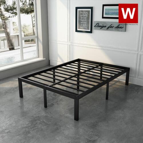 "Full Size Steel Bed Frame - Heavy Duty Metal Platform Beds - Height 14"""
