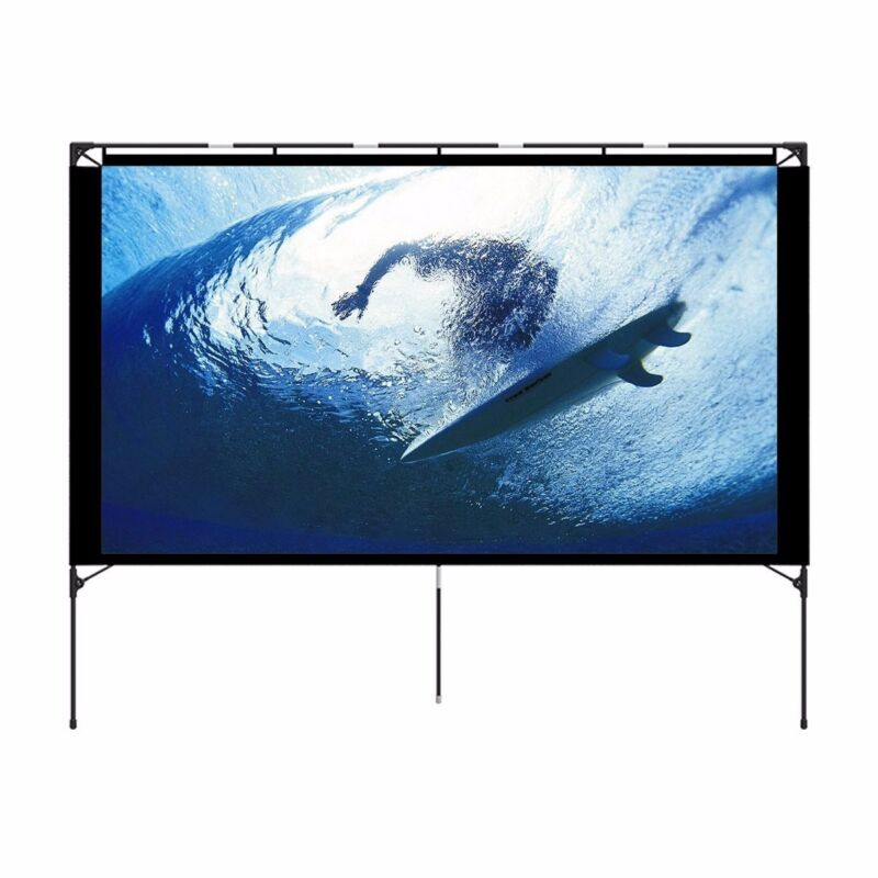 Outdoor Projector Screen & Stand - Portable Front Movie Screen Setup in 3 mins N