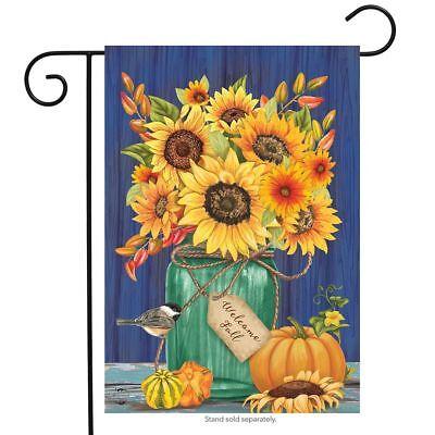 """Fall Mason Jar Sunflowers Garden Flag Autumn Floral 12.5"""" x"""