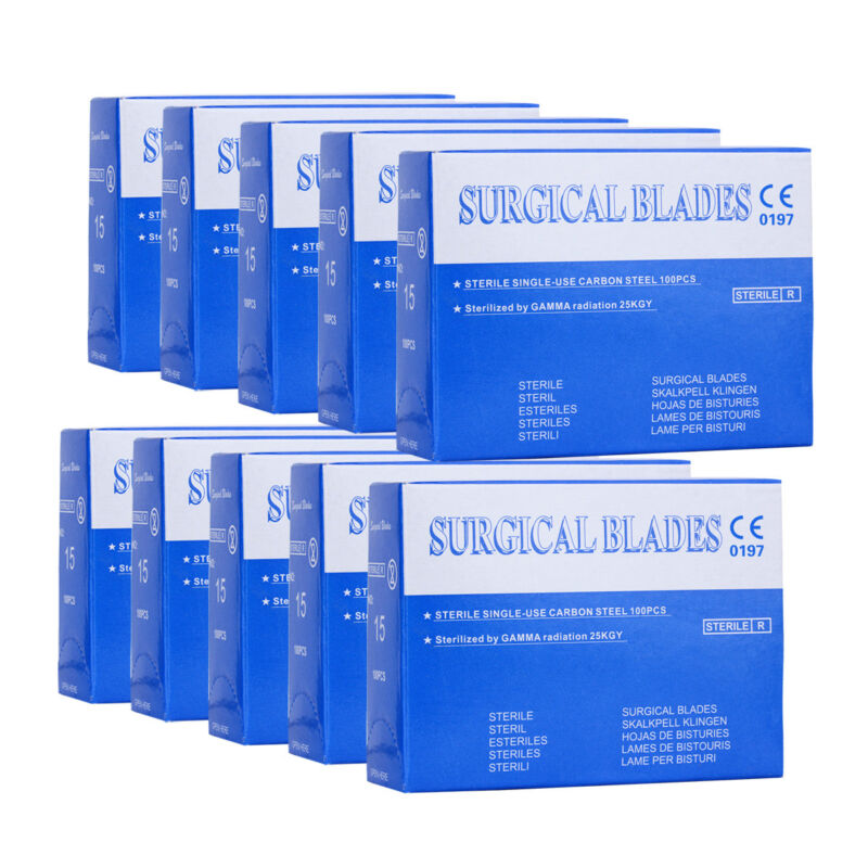 10 Boxes Dental Surgical Scalpel Sterilized Blades 15# Carbon Steel 100Pcs/Box