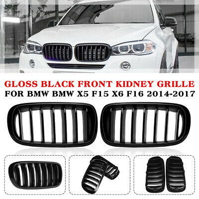 For BMW X5 X6 F15 F16 2014-2018 Pair Front Kidney Grill Grille Gloss Black USA